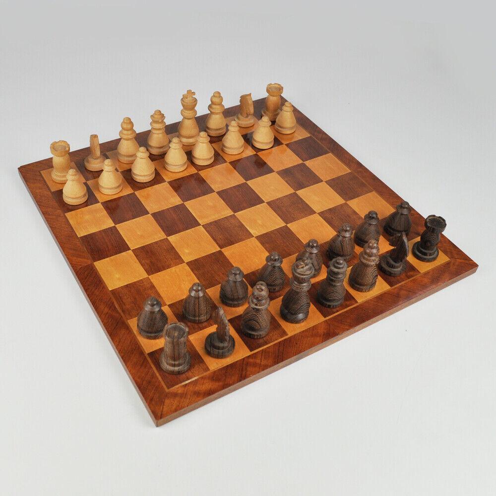 Schachbrett mit Figuren - Holz - 45,5cm x 45,5cm - Schachspiel