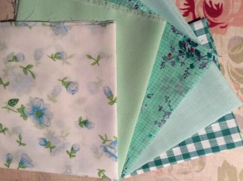 Remnant Quilting Crafting Floral Vintage Co-ordinating 5 Green Fabric Bundle