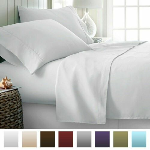 Extra Pocket 3 PCs Fitted Sheet 1000 TC 100/% Egyptian Cotton White Solid