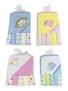 Bambino-Asciugamano-con-Cappuccio-e-Cinque-Lavaggio-Panni-Set-fs272