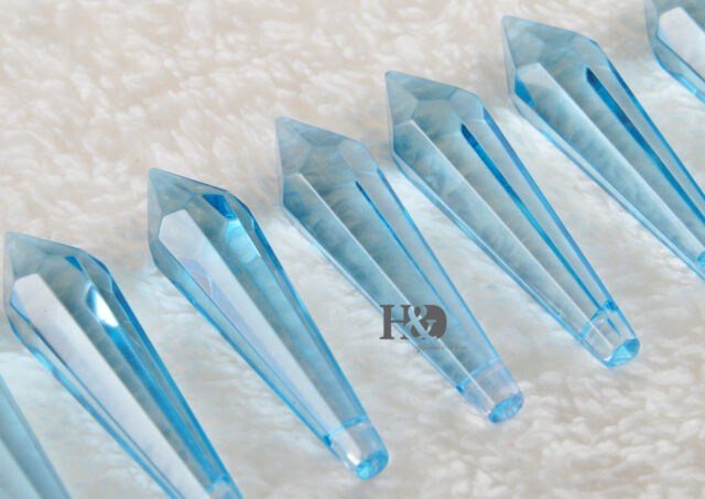 10 Sea Blue Crystal Glass Chandelier Lamp Lighting Part Prisms Drop Pendant 55MM