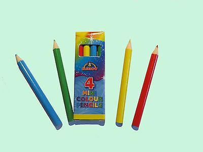 4 MINI COLOURING PENCILS IN  QUANTITIES OF 2- 30 PACKS PARTY BAG FILLERS