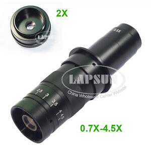 180X-360X-Zoom-C-mount-2X-Objective-Barlow-Lens-For-Industry-Microscope-Camera