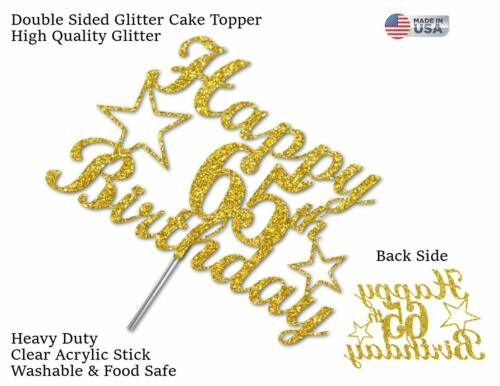 65th Birthday Cake Topper DOUBLE SIDE GOLD GLITTER 65th Party Decorations Favors