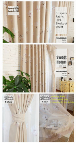 BLOCKOUT EYELET CURTAINS FLORA CURTAIN 2 SIDES PATTERN THICK FABRIC BLUE PINK