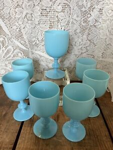 "PORTIEUX VALLERYSTHAL French OPALINE BLUE GLASS 6.5"" WATER GOBLETS Set 8 Vintage"