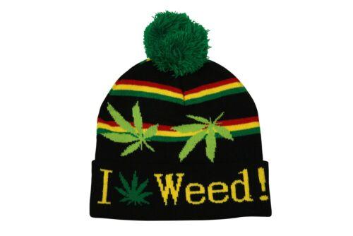 RASTA BOB MARLEY I Love mauvaise herbe RAYURE marijuana à enfiler pompom BONNET