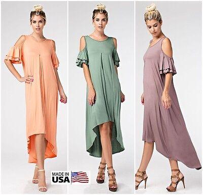 USA Womens Cold Shoulder Boho Long Maxi Dress Hi-Lo Hem Ruffle Sleeve S M L