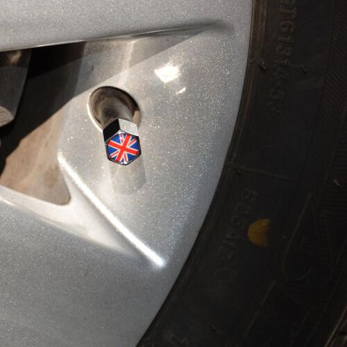 Chrome Car Billet Knurled Cover Tire Valve Cap Union Jack British Fla Wrench Key