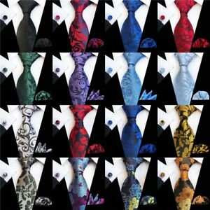 New-Men-039-s-Tie-Cufflinks-Pocket-Square-Set-Jacquard-Woven-Silk-Necktie