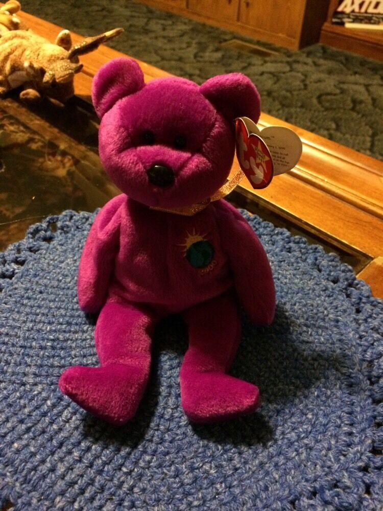 RARE TY BEANIE BABIES MILLENNIUM  BEAR Retired 3 Errorsss