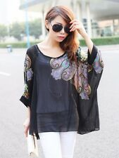 King & Ace │ Korean Fashion Night Bloom Paisley Chiffon Poncho Top T-01468 MOM17