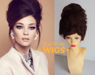 DELUXE BROWN SHORT BEEHIVE 1960/'s MOD BOUFFANT FASHION COSTUME WIG DRAG