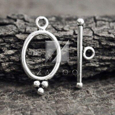 30pcs Tibetan Silver Bar Ring Toggle Clasps Connector 18x14x2//24x7x3 Wholesale