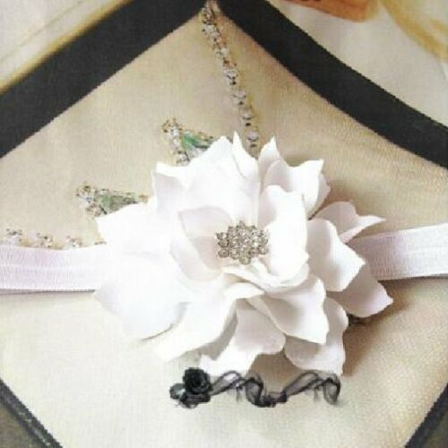 Haarband mit Blume Strass Baby Mädchen Haarschmuck Stirnband Elastisch Gummiband