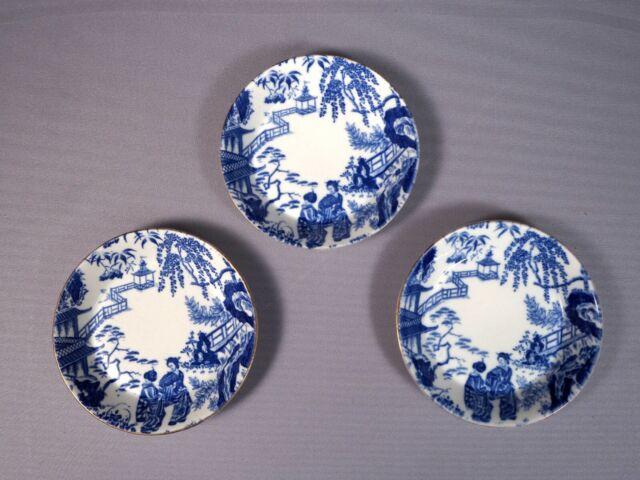 Royal Crown Derby Blue Mikado Nappy Fruit Bowls (s) Plate White Bone china 1924
