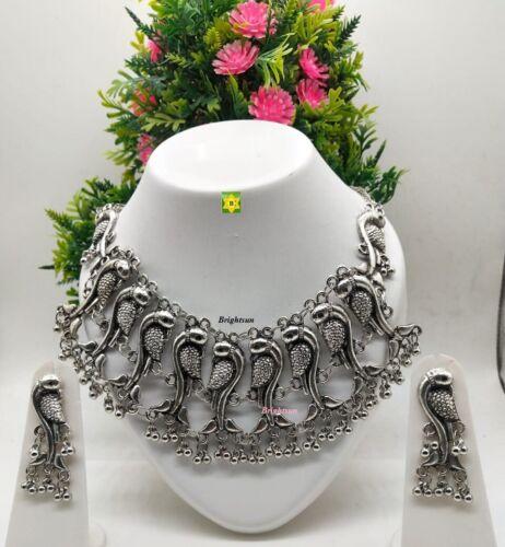 Indian Silver Oxidized Afghani Ethnic Tribal Bead Boho Choker Necklace Jewellery