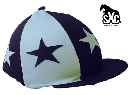 CUSTOM PRINTED RIDING HAT SILK COVER NAVY AND LIGHT BLUE ALTERNATE STARS POMPOM Riding Hats & Protective Gear