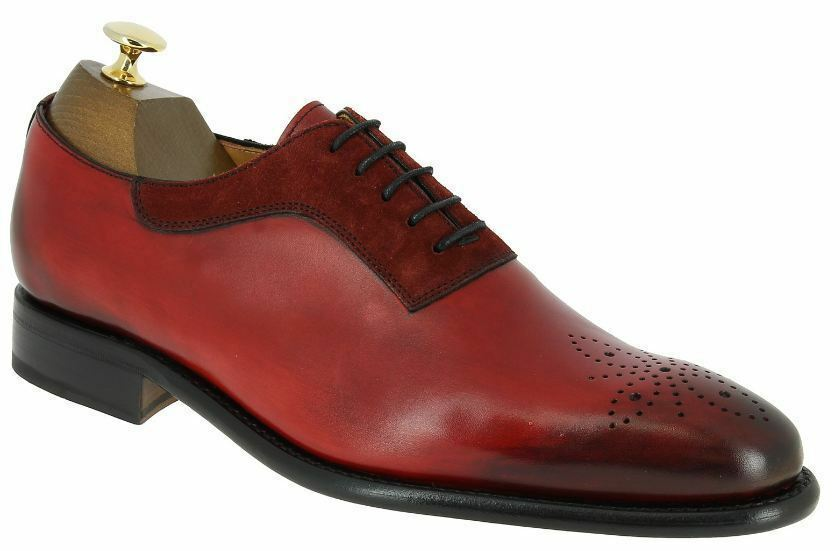 Men Handmade Handmade Handmade Two Tone rot Leather & Suede Brogue Toe,Formal Luxury Classic schuhe 35a4ab