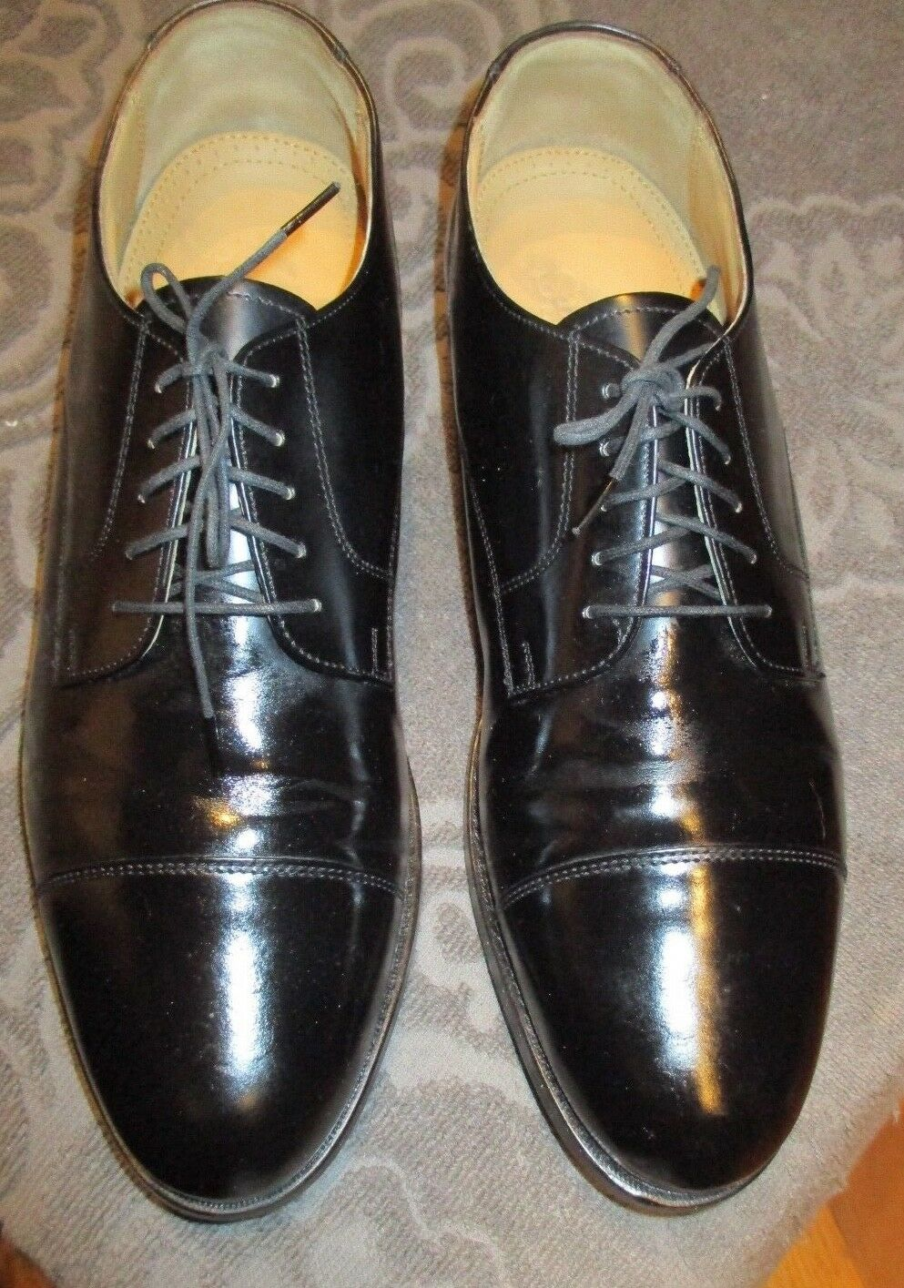 Mens Cap-toe Oxford Stafford Black  Leather shoes Size 9 1 2B AA