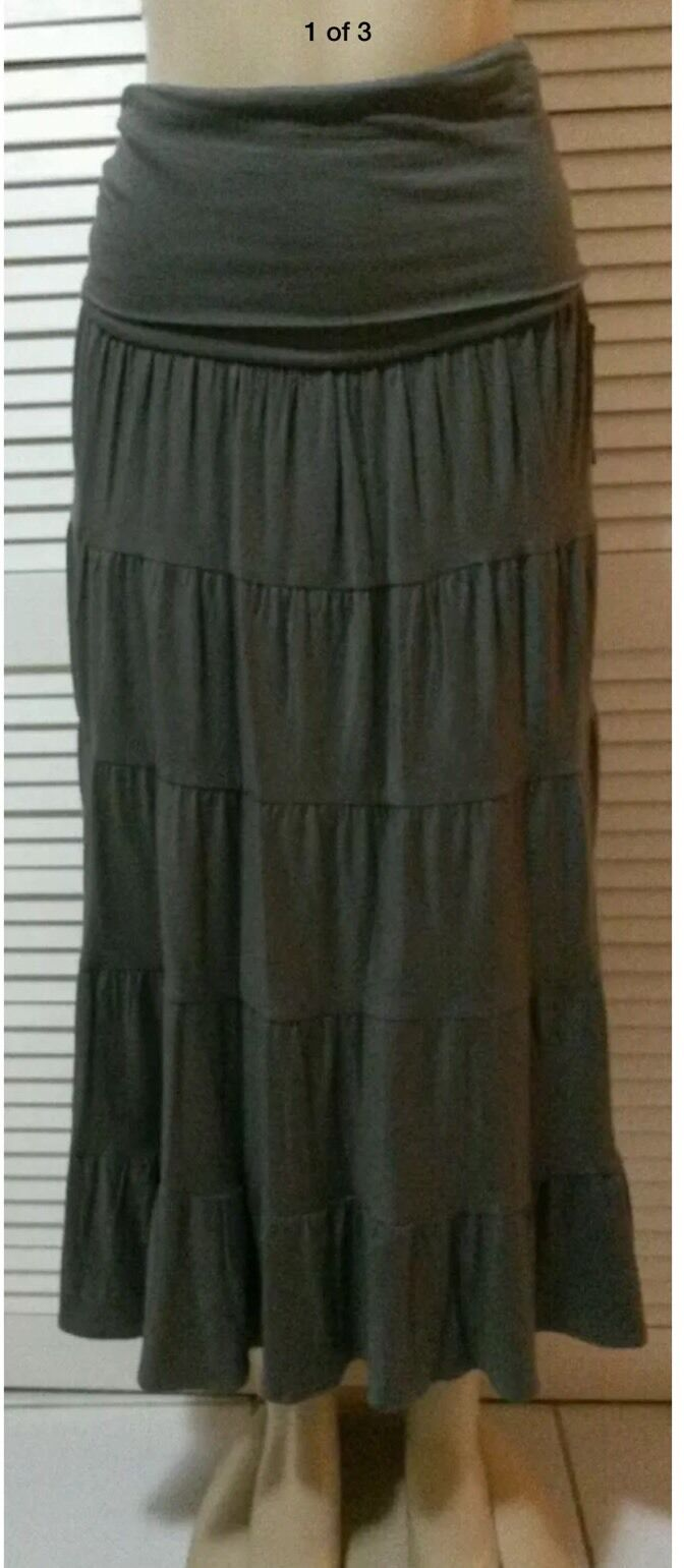 NEW INC International Concepts Congreenible Maxi Skirt Grey Knight Size S, L, XL