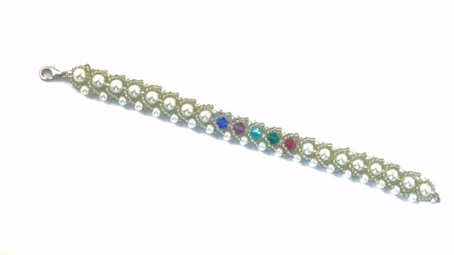 Mom Grandmother Birthstone Bracelet With Genuine Swarovski Crystals