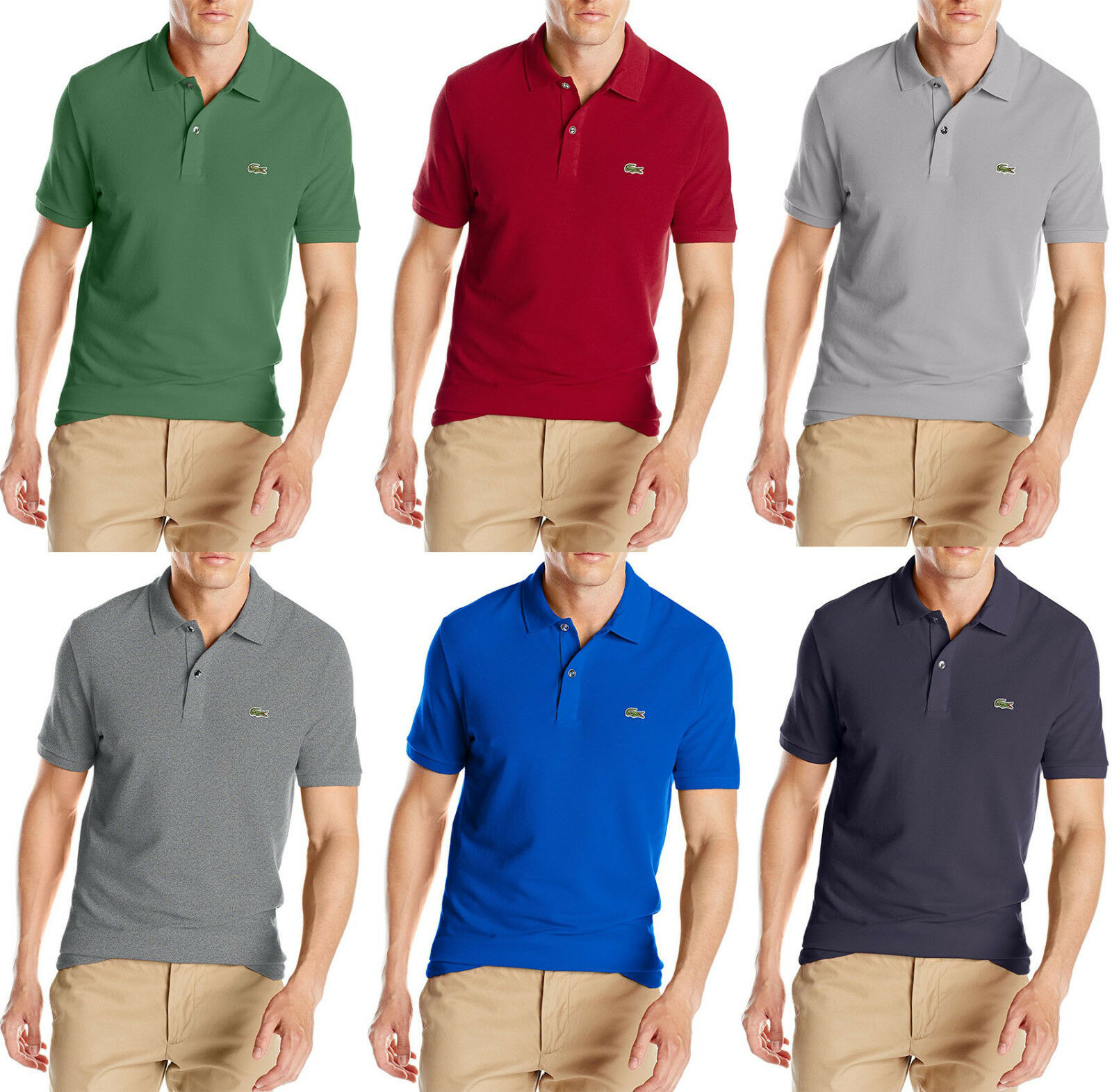 New Mens Lacoste Slim Fit Solid Short Sleeve Classic Pique Polo Shirt