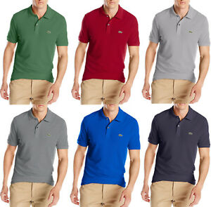 New Mens Lacoste Slim Fit Solid Short Sleeve Classic Pique Polo ... f1b014751