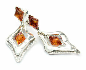 Beautiful-925-Sterling-Silver-amp-Baltic-Amber-Designer-Earrings-SilverAmber-GL013