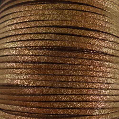5 mètres cordons suédine imitation daim couleur marron pailleté-N°101