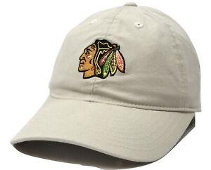 Chicago-Blackhawks-Reebok-EA99Z-NHL-Relaxed-Fit-Adjustable-Tan-Hockey-Cap-Hat