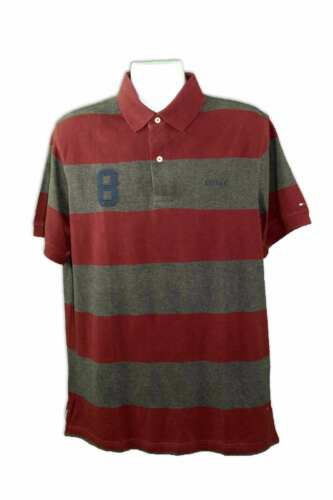 Tommy Hilfiger Men/'s Burgundy//Grey Cotton Short Sleeve Custom Striped Polo Shirt