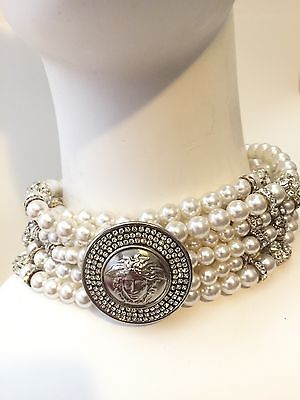 Rare Vintage Gianni Versace Pearl Crystal Choker Necklace