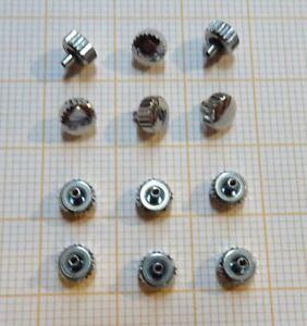 Lot mit 12 älteren,neuwertigen Aufzugskronen 4,0X0,9X2,2 mm Chrom....,ältere Lag