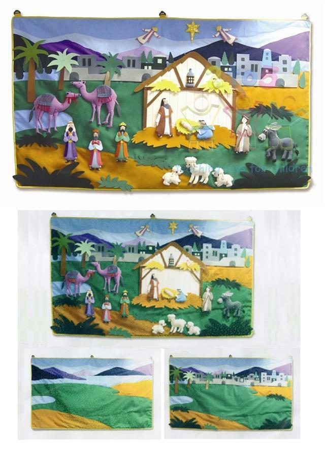 Giant 150 x 85cm Fabric Christmas Nativity Wall Hanging + 42 Attachable Motifs