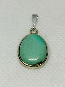 Gorgeous Real Natural Turquoise Stone Pendant 925 Solid Sterling Silver #11055