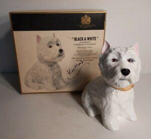 Vintage Black Y White Scotch Whisky Westie Perro Decantador Con Caja Adderley Ebay