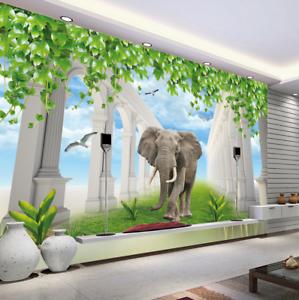 Papel Pintado Mural De Vellón Cielo Césped Elefantes 2 Paisaje Fondo De Pansize
