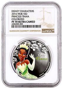 2016 Niue $2 1 Oz Colorized Silver Disney Princess Tiana NGC PF70 UC SKU38833