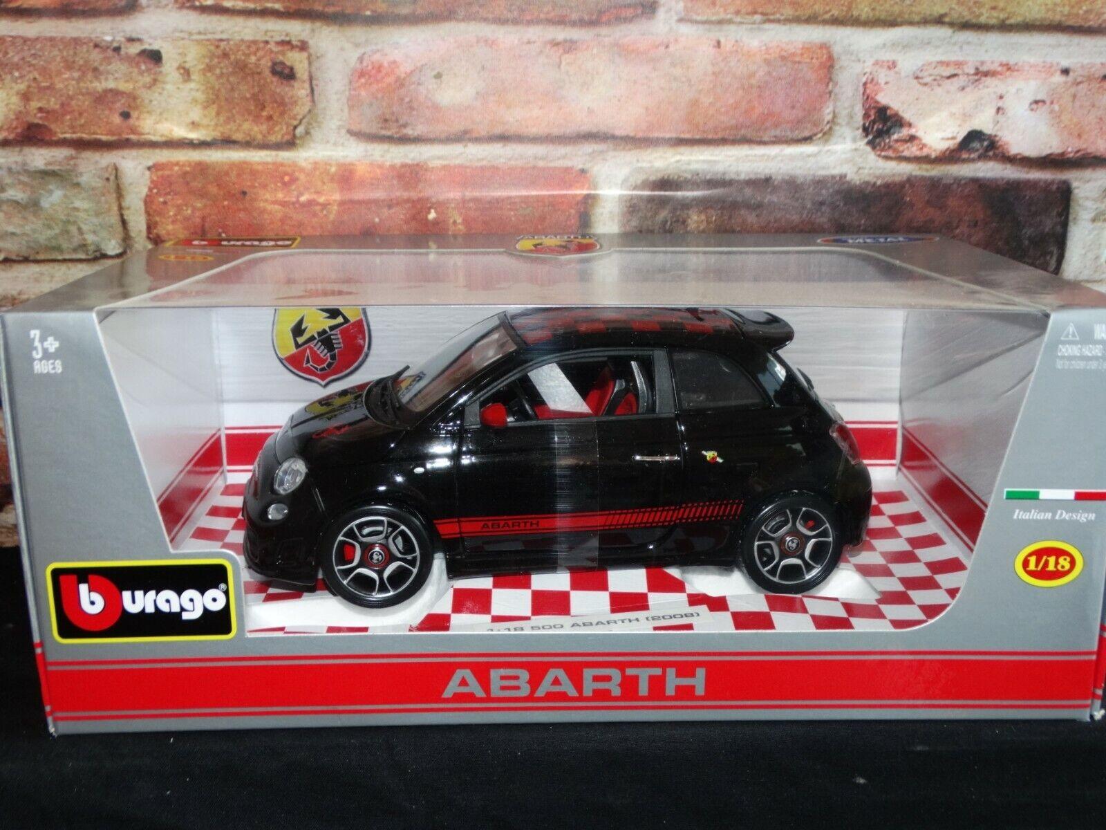 Bburago Fiat Abarth 500 Black Red 1 18 Scale Diecast Model Car Import