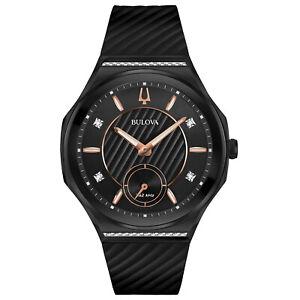 Bulova-Women-039-s-Quartz-Curved-Black-Case-Diamond-Accents-40-5mm-Watch-98R240
