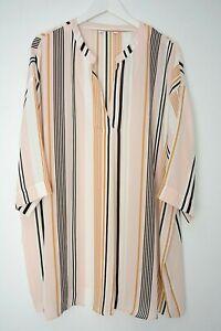 New-Ex-Evans-White-Multi-Colour-Stripe-Chiffon-Tunic-Blouse-Top-Plus-Size-14-30