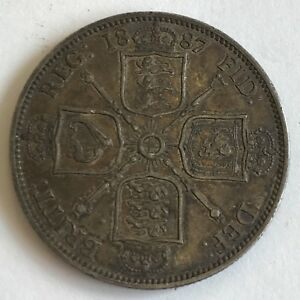 Antique-1887-Victoria-Victorian-Jubilee-Head-Silver-Two-Shilling-Florin-Coin