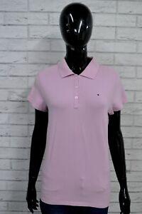 Polo-Donna-TOMMY-HILFIGER-L-Maglia-Manica-Corta-Elastica-T-shirt-Jersey-Lilla