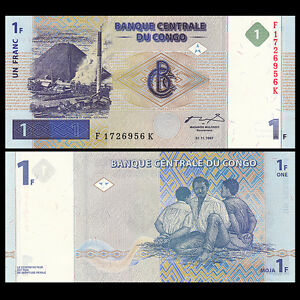 Congo 1 Franc, 1997, P-85, UNC , Banknotes, Original