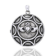 Large Round Celtic Claddagh Heart Locket Sterling Silver Pendant