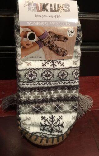 Grey W//Tassels Or Blue W//Pompoms NEW MUK LUKS Slipper Socks Winter Design