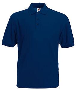 La imagen se está cargando Azul-Marino-Fruit-Of-The-Loom-Camisa-Polo- c8593a06e4a0a