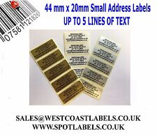 Personalised Printed Sticky Address Labels Stickers White Gold Silver
