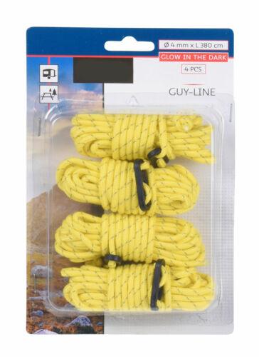 Camping Abspann Seil Spannseil reflektierend 4x Zeltseil leuchtend gelb 380 cm